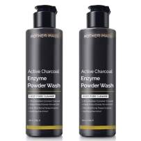 MOTHER MADE Active Charcoal Enzyme Powder FaceWash Polish with Aloe Vera - Daily Non-Abrasive Exfoliator & Facial Cleanser for Men & Women - Scrub, Exfoliating, Deep Pore Cleansing, 2 Bottles