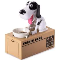 Wekity Hungry Dog Piggy Bank, Cute Dogs Steals Coins Like Magic Coin Munching Toy Money Box Birthday Gift for Kids (Dog)