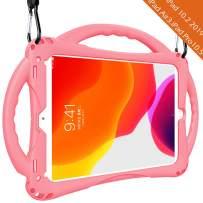 Adocham Kids case for iPad 7th Gen 10.2 (2019)/ iPad Air 3rd Gen 10.5 (2019)/ iPad Pro 10.5(2017), Premium Food-Grade Silicone Lightweight Shock Proof Handle Stand Kids Friendly Cover (Pink)