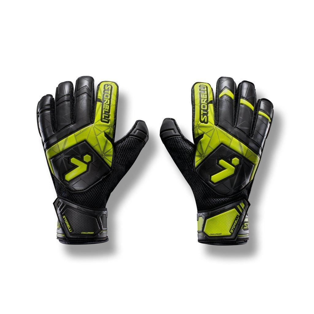 Storelli Gladiator Challenger 1.0 Goalkeeper Gloves | Protective Soccer Goalie Gloves with Finger Spines | Enhanced Finger and Hand Protection | Black