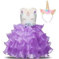 NNJXD Flower Girls Unicorn Costume Pageant Princess Party Ruffles Dress with Headband Size (100) 2-3 Years Purple