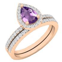 Dazzlingrock Collection 10K 7X5 MM Pear Gemstone & Round Diamond Ladies Bridal Teardrop Engagement Ring Set, Rose Gold