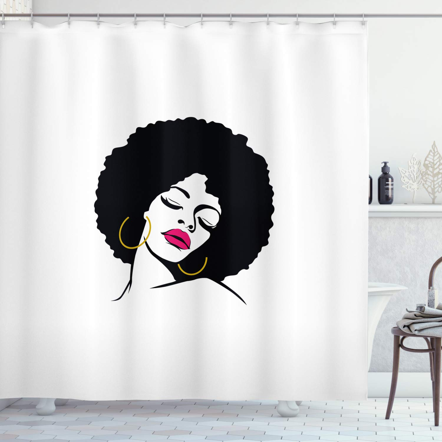 """Lunarable Black Woman Shower Curtain, Woman with Afro Hair Pop Art Drawing Funky Earrings and Lipstick, Cloth Fabric Bathroom Decor Set with Hooks, 75"""" Long, Yellow Black"""