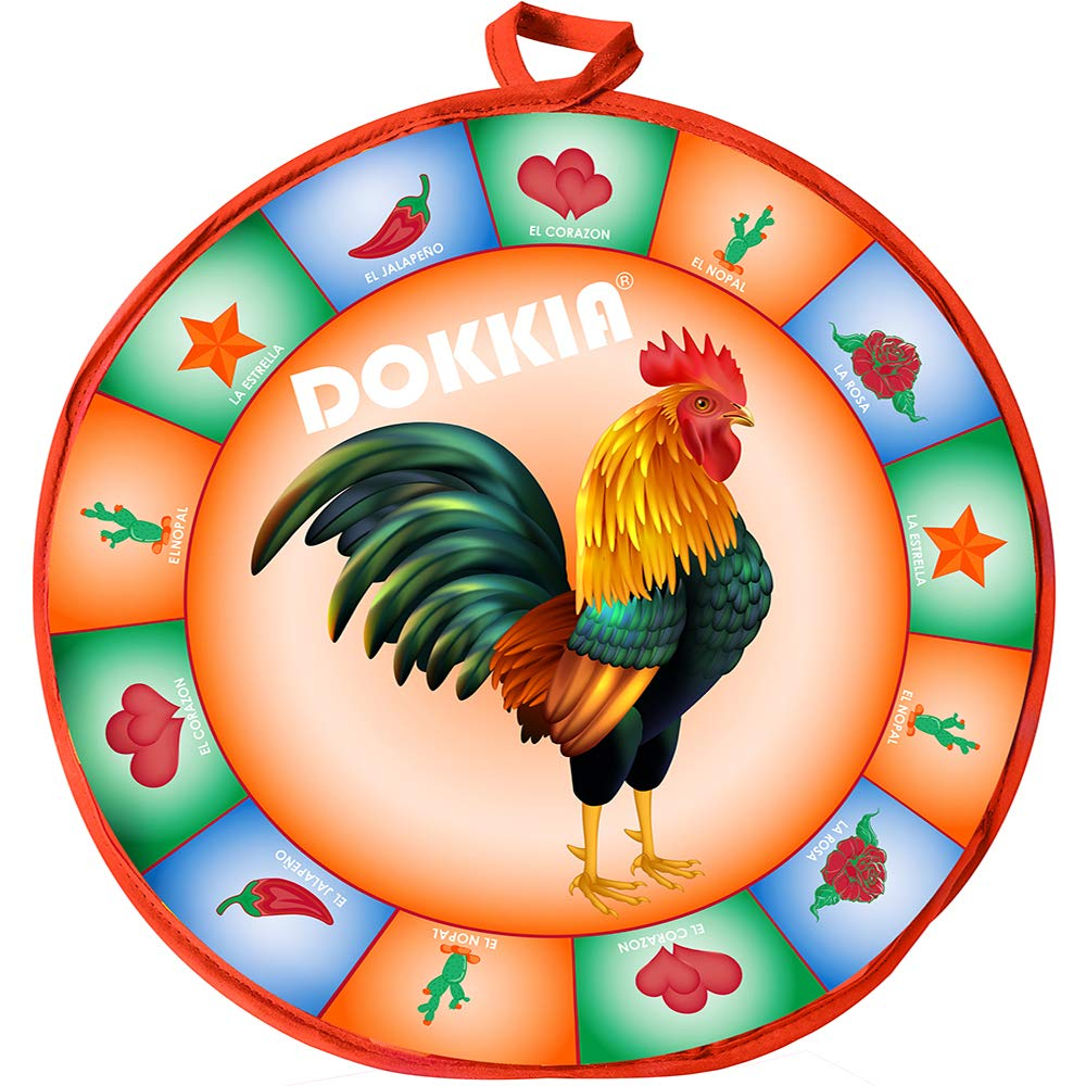 DOKKIA Tortilla Warmer Taco 12 Inch Insulated Cloth Pouch - Microwavable Use Fabric Bag to Keep Food Warm (12 Inch, Fiesta Cock Rooster Chili Star Rose)
