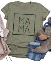 Mama Letters Print T-Shirt Women Short Sleeve Casual Graphic Tees Tops Mother's Day Shirts Gift
