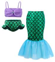 Cotrio Mermaid 3-Pieces Swimsuit Girls Tankini Swimwear Bikini Set Bathing Suit Mermaid Tail Skirt Outfit Size 3T (L, 2-3Years, Top+Underwear+Dress)