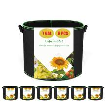 Fabric Pots 7 Gallon Grow Bags, 6-Pack Planting Bag Thickened Aeration Cloth Pot for Vegetables, Firm Durable Handles