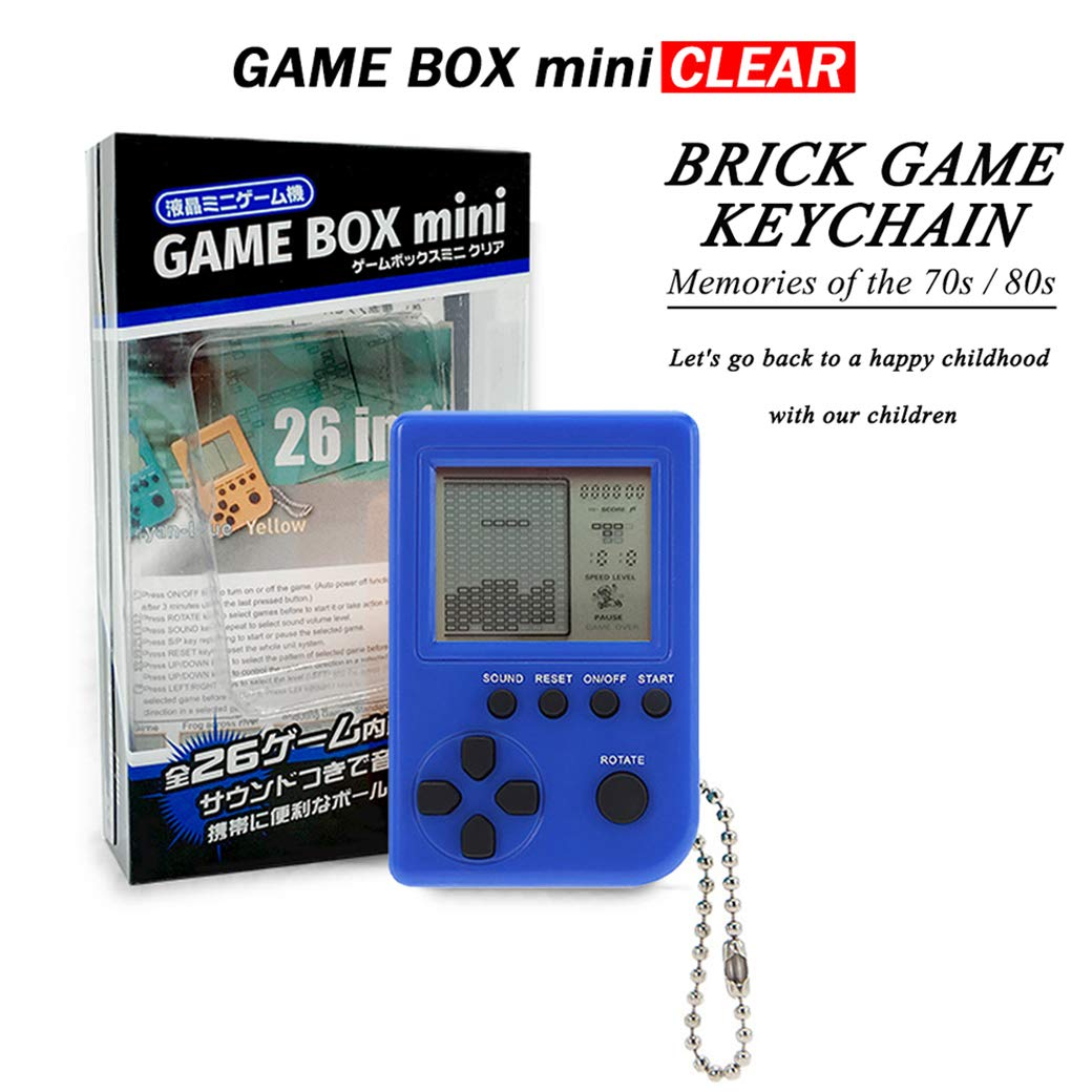 KincoBa Brick Game Keychain,with Hanging Chain,Mini Size,Bright Colors,Built-in 26 Brick Game Matches,Best Birthday Festival Gift for 4-12 Year Children (Darkblue)