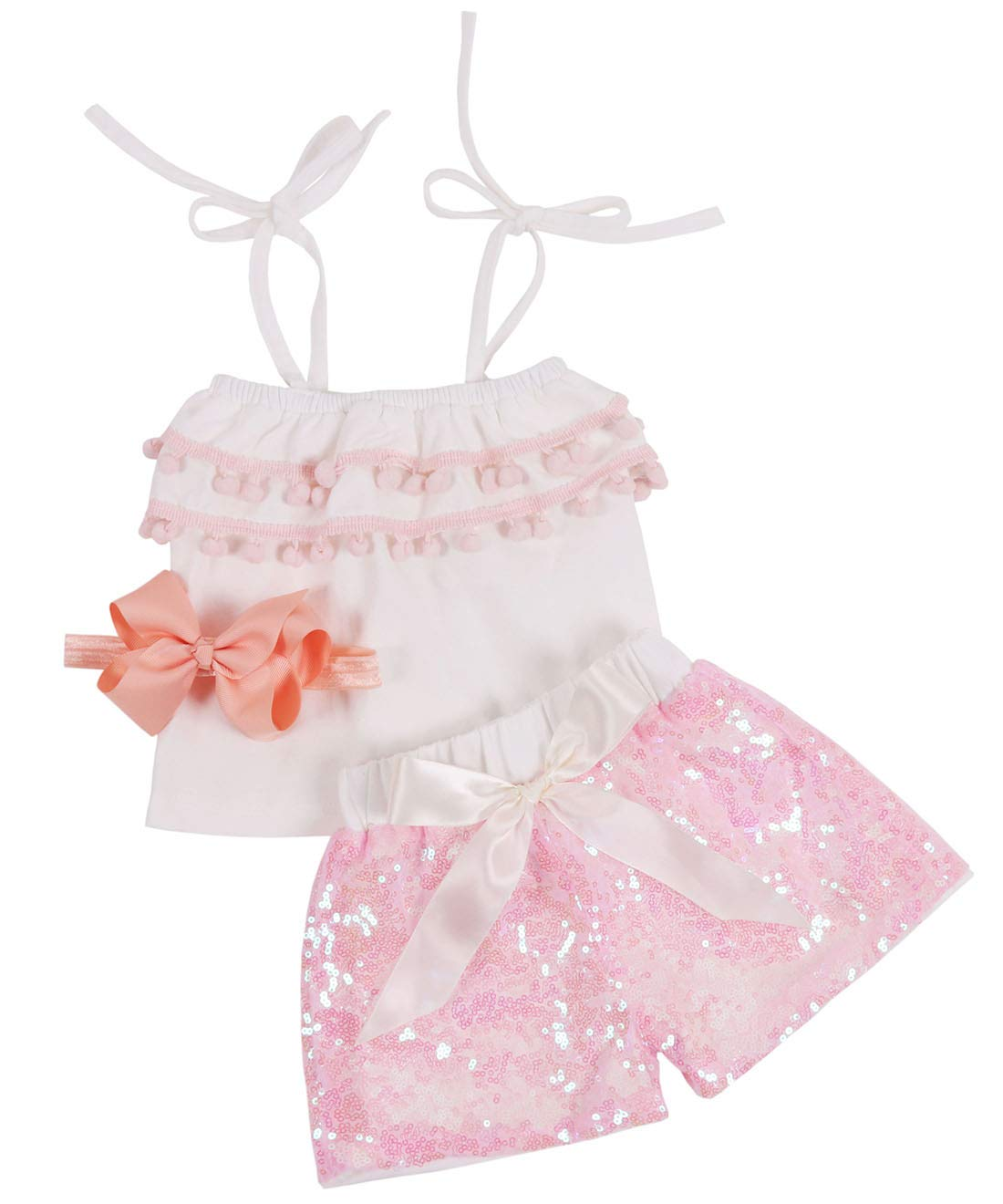 Baby Girls Sequin Shorts Outfits Kids Sparkle Toddler Rainbow Shirt Tops Glitter on Both Sides Shorts Outfits with Headband