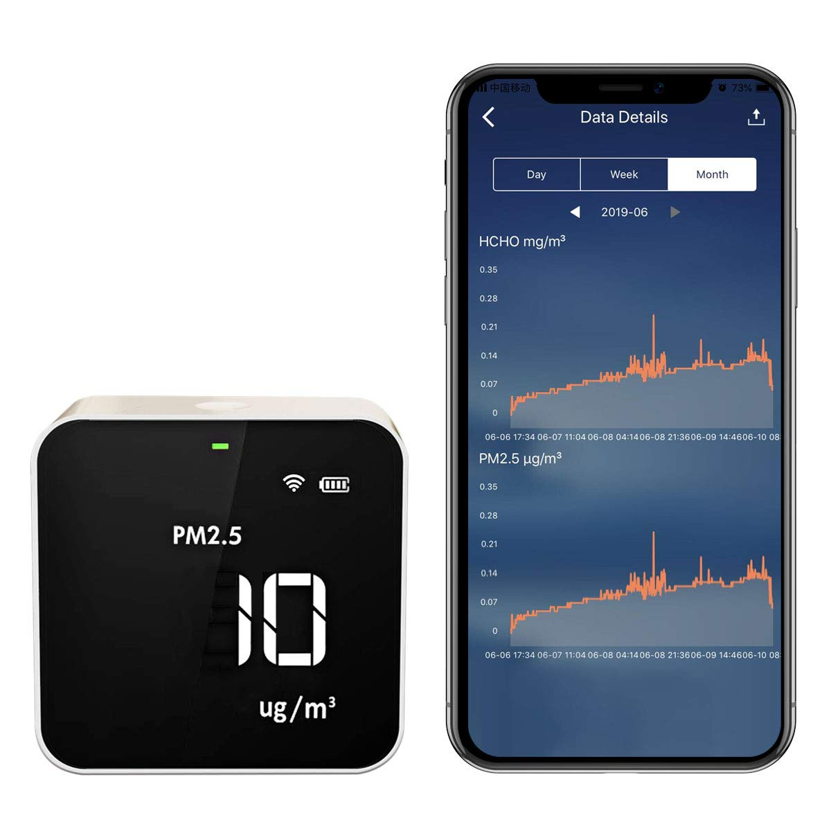 Temtop M10i WiFi Air Quality Monitor Meter for PM2.5 TVOC AQI HCHO Formaldehyde Detector Real Time Data Recording