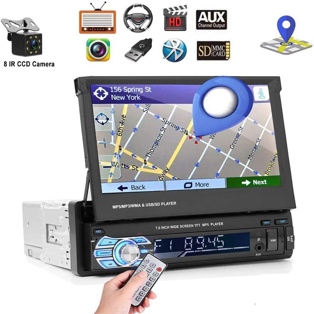 "Car Stereo Single din Car Radio 7"" HD Player MP5 Touch Screen Digital Display Bluetooth Multimedia USB 1din Autoradio GPS Navigation Radio Player with 8 IR Car Backup Camera + Wireless Remote Control"