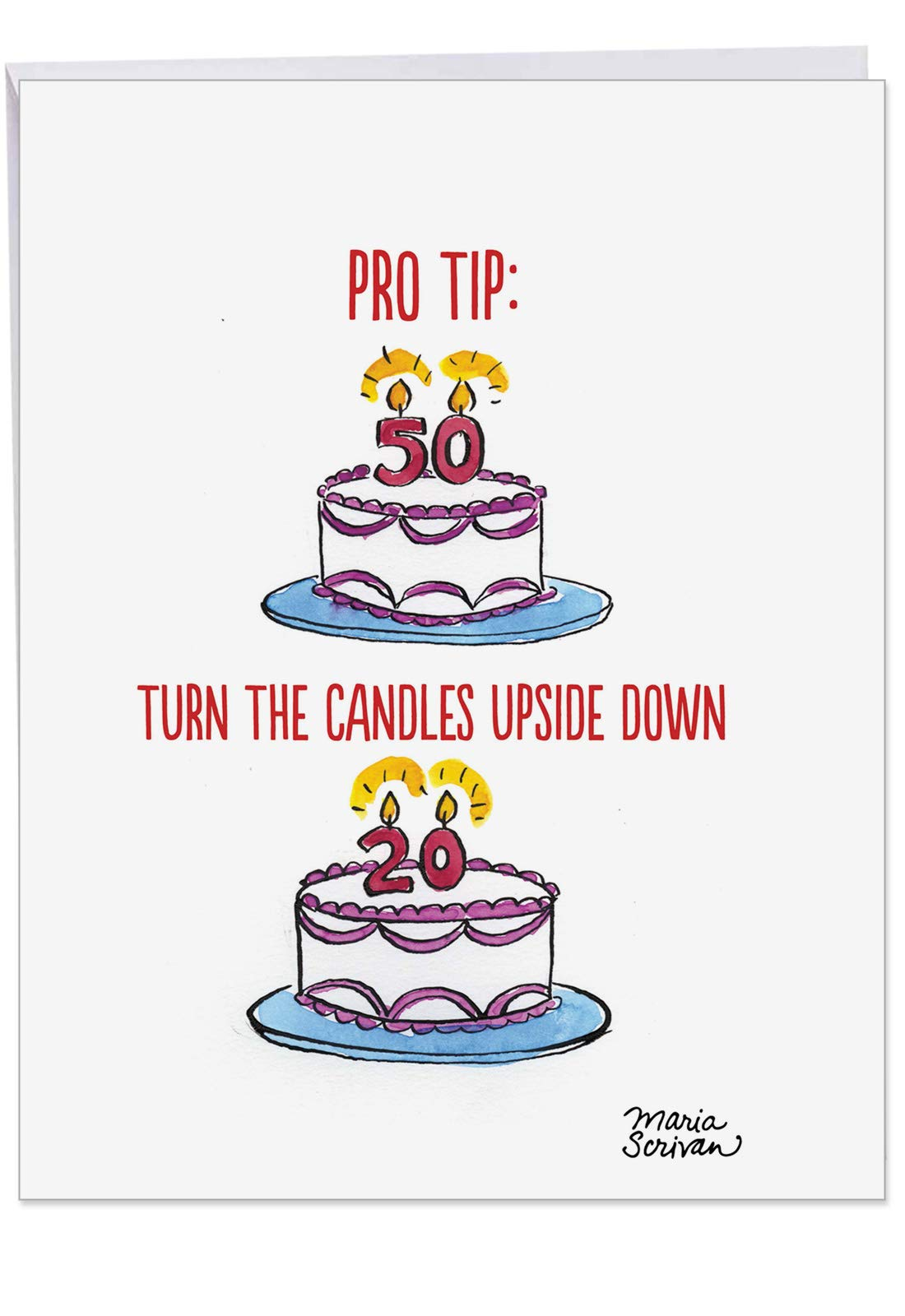 Pro Tip Birthday' Big Greeting Card with Envelope 8.5 x 11 Inch - Birthday Cake and Candle with Age - 20 Not 50 - forever Young - Funny Cartoon Stationery Set Personalized Happy Bday Gift J6085BDG