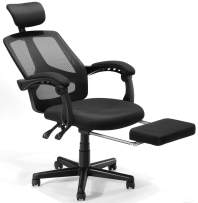 Tribesigns Home Office Chair Ergonomic Desk Chair Mesh Computer Chair Comfortable Executive Swivel Task Chair with Adjustable Headrest Padded Armrests and Retractable Footrest, Black