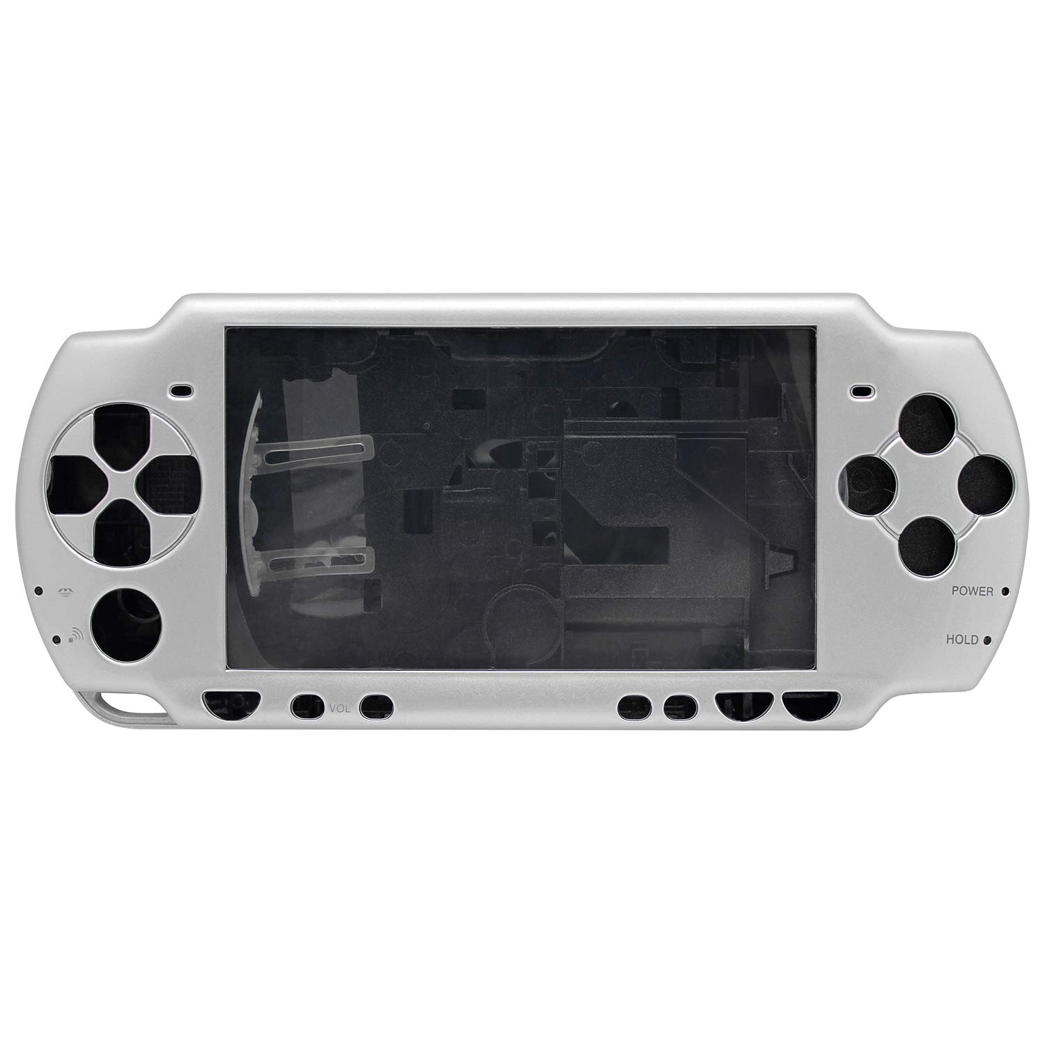 OSTENT Full Housing Shell Faceplate Case Parts Replacement Compatible for Sony PSP 2000 Console Color Silver