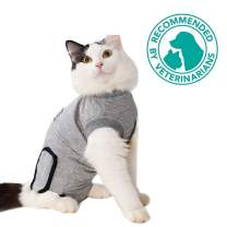 Bonaweite Pet Cat Professional Recovery Suit for Abdominal Wounds and Skin Diseases, Breathable E-Collar Alternative Cotton Surgery Shirt for Cats and Dogs,Recommended by Vets