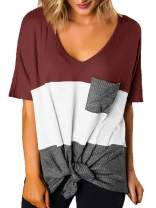 SAMPEEL Womens Casual Tops V-Neck Short Sleeve T Shirts Tie Knot Waffle Knit Tunic Tops