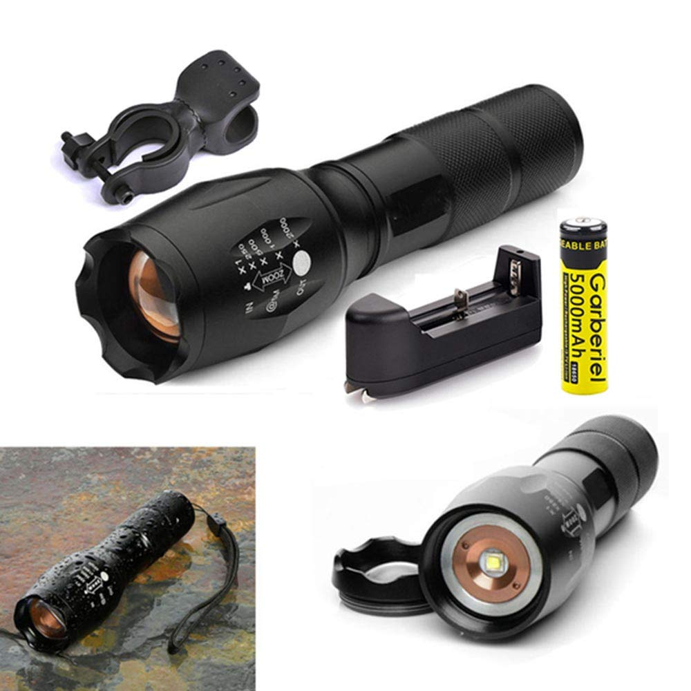 Garberiel Small LED Flashlight with Battery and Charger - 5 Modes Waterproof Tactical Mini Torch Light Adjustable Focus Rechargeble Flashlight Set