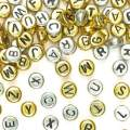 Baker Ross Gold & Silver Alphabet Beads (Pack of 400) For Kids Crafts and Jewellery Making, 6mm