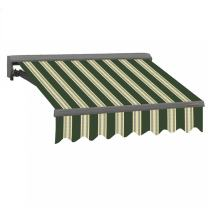 ADVANING MA0807-A230H Classic Series, Retractable Patio Awning, 100% Acrylic Fade Resistant Fabric Easy UV Sunshade with Manual Hand Crank, 8' x 7', Forest Green with Beige Stripes