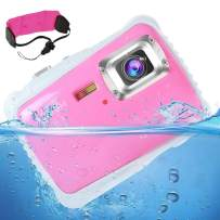 """[Updated 2019 Model] AIMTOM 12MP Pink Kids Underwater Digital Waterproof Camera, Boys Girls Action Camcorder, 2"""" LCD Screen Children Birthday Learn Sports Cam Floating Wrist Strap Included"""