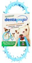 DentapupⓇ Dental Dog Toy Cleaning Teething Chew Ring with Teeth for Medium to Large Breed Dogs - Tartar & Plaque Remover, Gum Massager & Mouth Cleaner for Fresh Breath, Made in USA - Blue