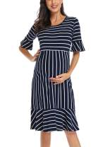 Love2Mi Women's Striped Maternity Dress Ruffle Trim Bell Sleeve Midi Pregnancy Dresses for Baby Show