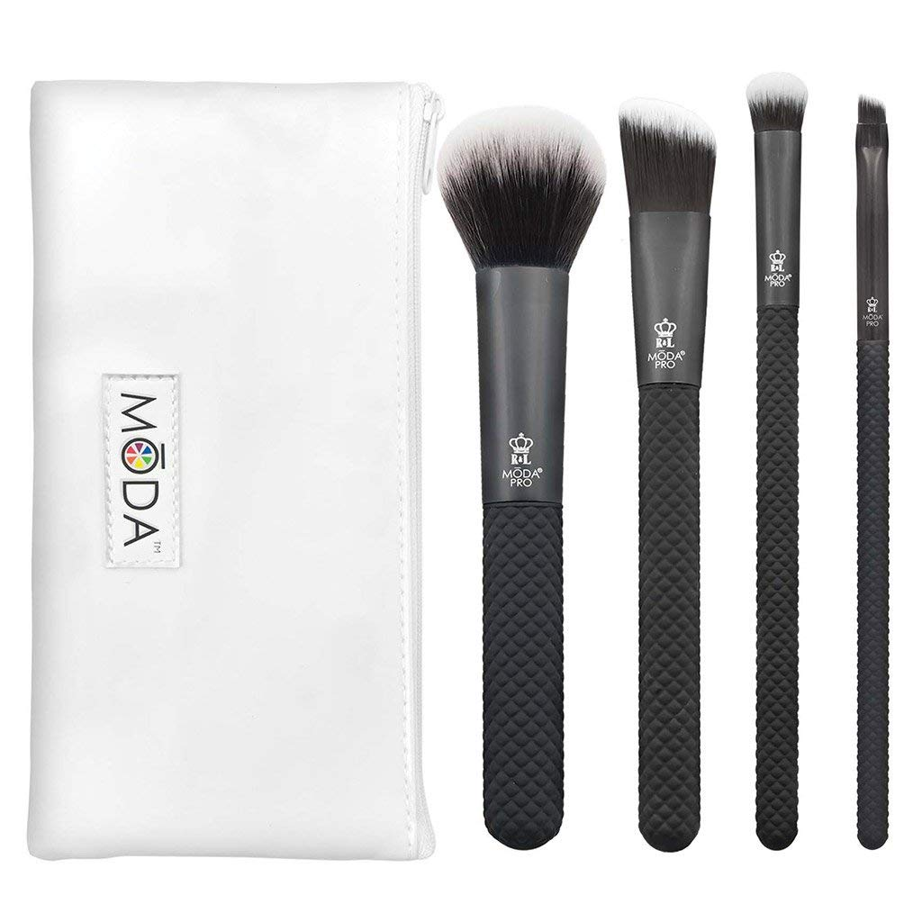 Royal & Langnickel MODA Pro Full Size Everyday 5pc Makeup Brush Set with Pouch, Includes - Multi-Purpose Powder, Angle Foundation, Domed Shadow, and Angle Eyeliner Brushes, Black
