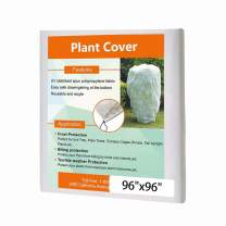Agfabric Plant Cover Freeze Protection 0.9oz 96''x96'' Square Shrub Jacket, Rectangle Frost Blanket with Zipper for Season Extension & Frost Protection