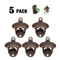 Bottle Opener Wall Mounted 5 Pack Rustic Beer Opener Set Vintage Look with Mounting Screws for Kitchen Cafe Bars
