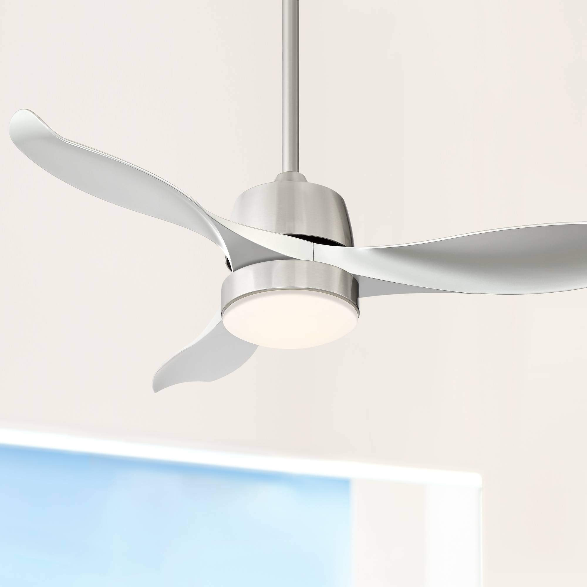 "44"" Lexicon Modern Ceiling Fan with Light LED Dimmable Remote Control Brushed Nickel Silver Blades for Living Room Kitchen Bedroom Family Dining - Casa Vieja"