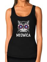 Women's Funny Patriotic USA Tank Top American Flag Meowica 4th of July Tank Top