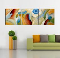 ARTLAND Modern 100% Hand Painted Abstract Oil Painting on Canvas Dream Whirlpool 3-Piece Framed Wall Art for Living Room Artwork for Wall Decor Home Decoration (24x24inchesx3, Canvas Wall Art 1)
