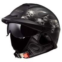 LS2 Helmets Rebellion Motorcycle Half Helmet (Bones - Medium)