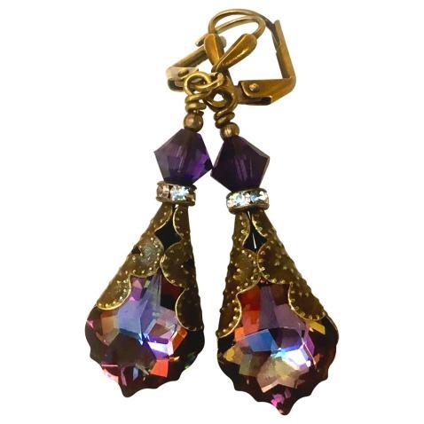 Womens Girls Handmade Beaded Dangle Earrings Purple Black Gold Earrings Fancy Earrings Appealing Drop Earrings
