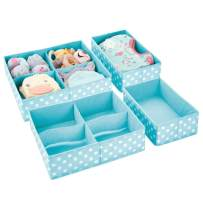 mDesign Soft Fabric Dresser Drawer and Closet Storage Organizer Set for Baby, Child/Kids Bedroom, Nursery, Playroom, Closet Organization - 5 Compartments, 4 Piece Set - Turquoise Blue/White Polka Dots