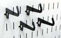 Wall Control Pegboard 3-1/2in Reach Curved Tip Slotted Hook Pack - Slotted Metal Pegboard Hooks for Wall Control Pegboard and Slotted Tool Board – Black