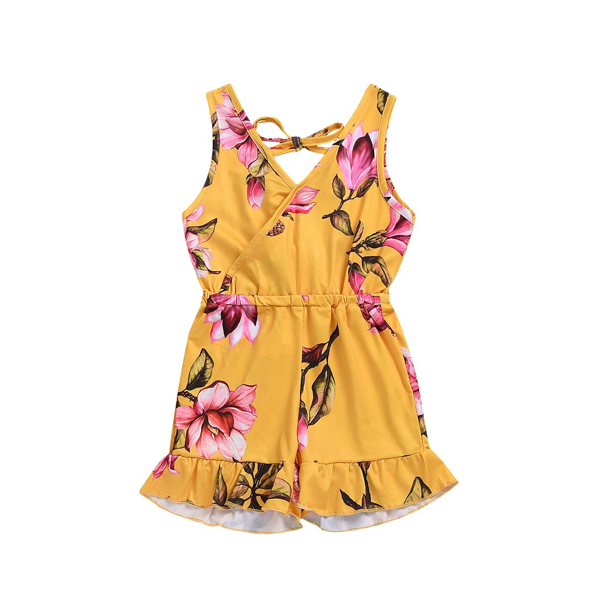 YOUNGER TREE Toddler Baby Girls Summer Outfits V-Neck Jumpsuit Flower Printed Sleeveless Elastic Waist Short Sets