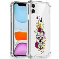 Artemiss iPhone 11 Case 2019,Shockproof Series Hard PC+ TPU Transparent Bumper Protective Case for iPhone 11 6.1 Inch (Flower Skull1)