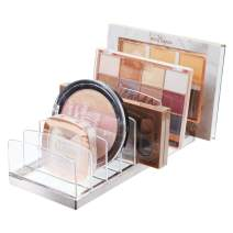 mDesign Plastic Makeup Organizer for Bathroom Countertops, Vanities, Cabinets: Cosmetics Storage Solution for - Eyeshadow Palettes, Contour Kits, Blush, Face Powder - 9 Sections - Clear/Chrome