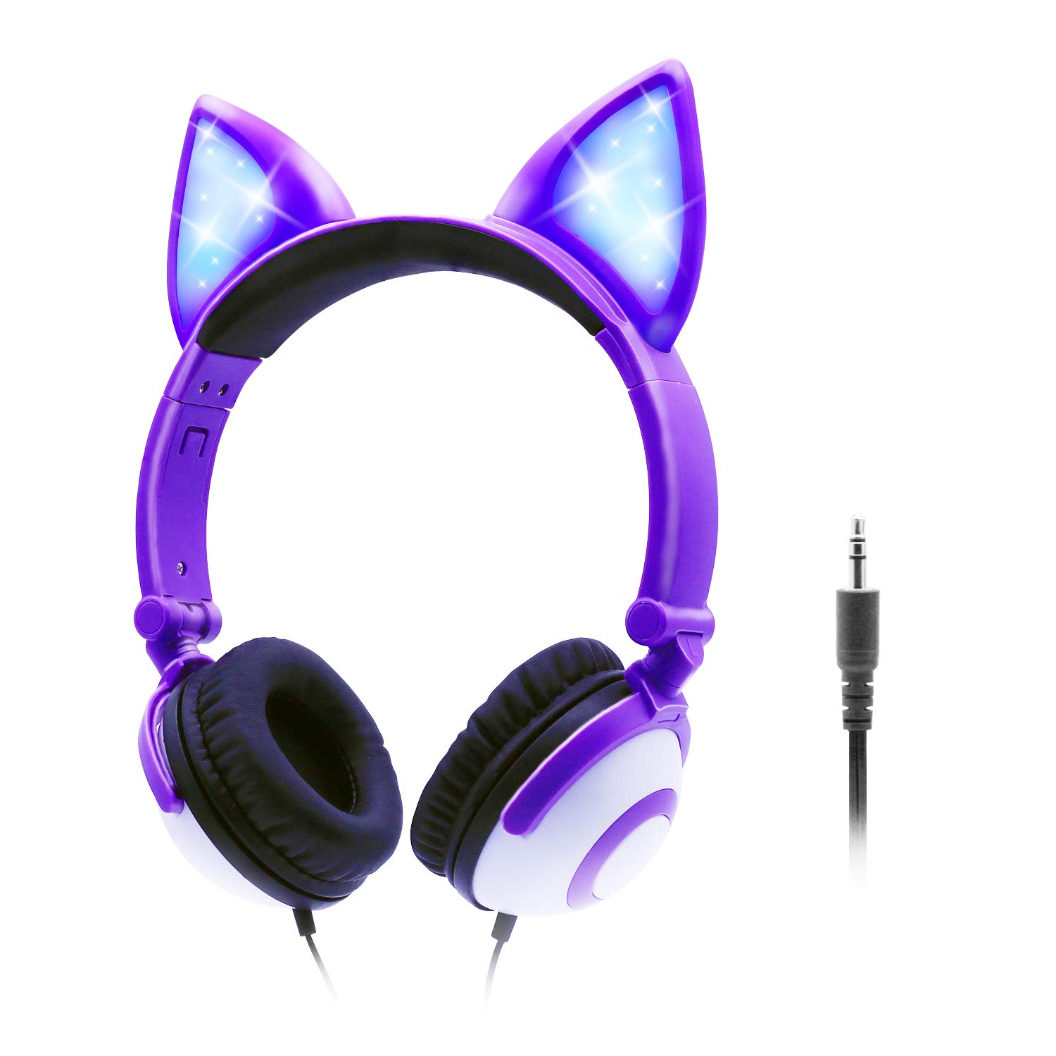 ONTA Kids Headphones with Cute LED Glowing Cat Ears,Foldable, Noise-Canceling and Adjustable Toddlers Headphones for Boys and Girls (Purple)