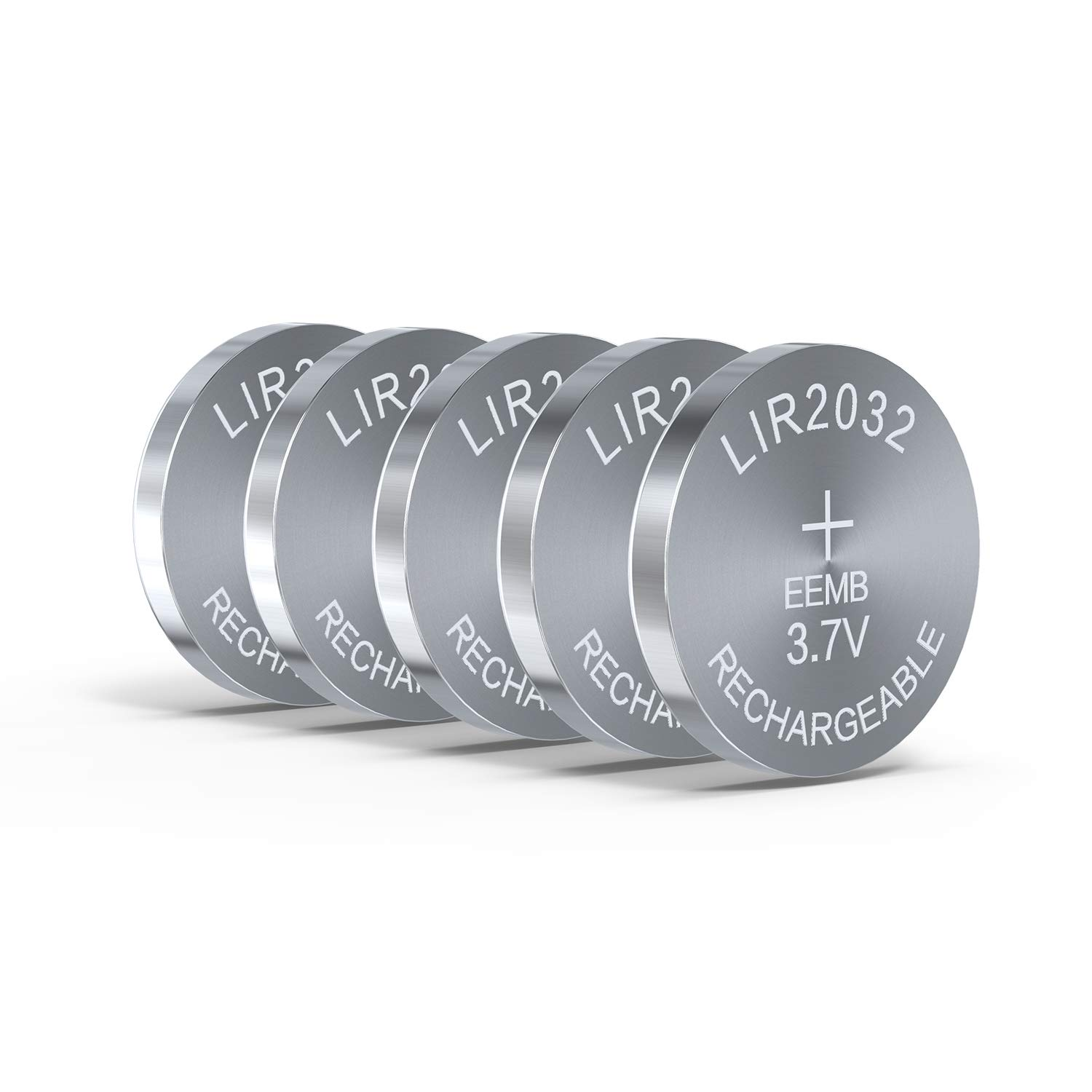 3.7V 45mAh LIR2032 Rechargeable Cell Li-ion Button Battery UL Certified for Bluetooth Earphone Light Game Controllers (5PCS)