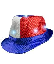 Fun Central Light Up Patriotic Sequin Fedora for Men & Women - 4th of July & Memorial Day Party Supplies