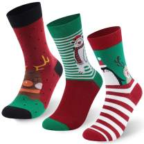 J'colour Holiday Socks, Unisex Novelty Fun Christmas Cute Cartoon Crew Socks