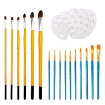 Paint Brush Set,Miniature Paint Brushes for Acrylic & Oil Painting,Watercolor,Face and Model,Nylon and Weasel Hair Detail Brushes 2 Pack 16 Pcs