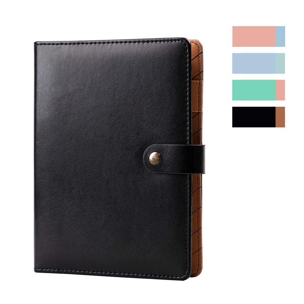 """Leather Binder Journal Refillable Diary with Pen Holder, 6 Ring Binder Ruled Notebook and Journal,A5 Binder Loose Leaf Travel Journal 7.2"""" x 9.1""""— Black"""