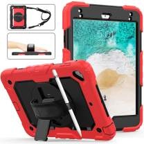iPad 9.7 Case With Pencil Holder,Heirize Full Body Rugged Kidsproof Armor Case With 360 Rotating Stand/Adjustable Hand Strap/Shoulder Strap/Screen Protector For iPad 6th/5th/Air2/Pro 9.7 2017/2018,Red