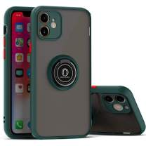 BIBERCAS iPhone 11 Case with Ring Holder,360° Rotation Magnetic Ring Grip Stand with Camera Lens Protector for iPhone 11,Slim Fit Matte Protective Shockproof iPhone 11 Cover Case 6.1 inch-Dark Green