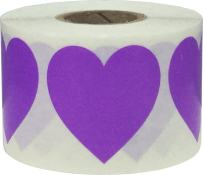 Purple Heart Stickers Valentine's Day Crafting Scrapbooking 1.5 Inch 500 Adhesive Stickers