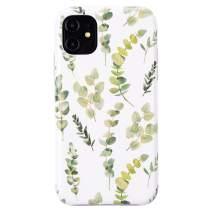 Dimaka iPhone 11 Case Cute Design Pattern Case for Girls Ultral Slim Thin Drop Proof White Cover Bumper (Green Leaf)
