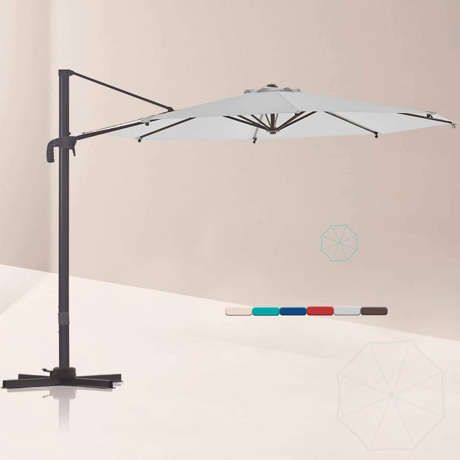 LE CONTE 10 ft. Cantilever Umbrella with 360 Degree Rotation | Outdoor Aluminum Offset Patio Umbrella Market Hanging Umbrellas | Solution Dyed Fabric, Integrated Tilting and Cross Base (Light Grey)
